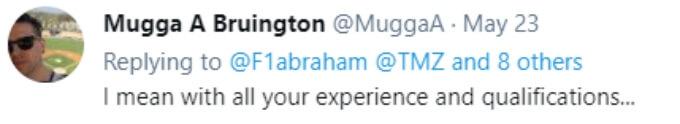 A follower questions Farrah's qualifications