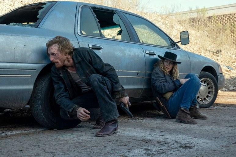 Austin Amelio as Dwight and Jenna Elfman as June, as seen in Episode 13 of AMC's Fear the Walking Dead Season 6