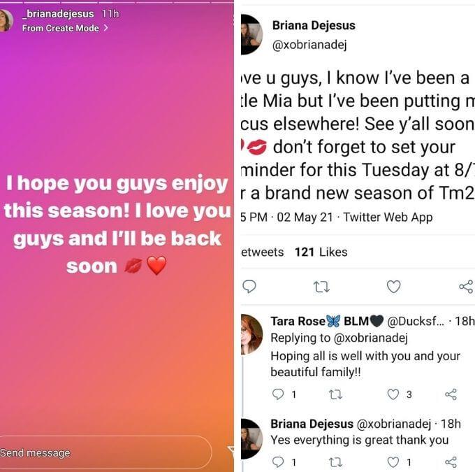 Briana DeJesus of Teen Mom 2 on Instagram and Twitter