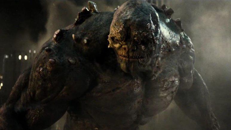 Doomsday fighting Superman and Batman
