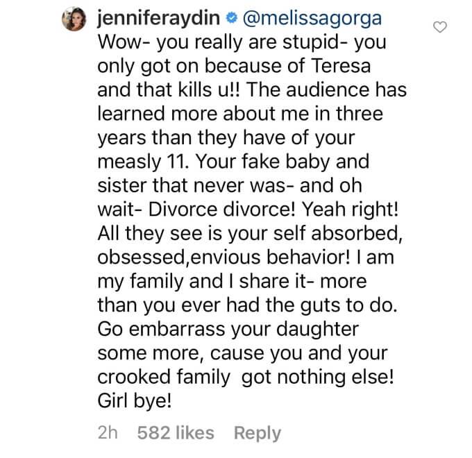 Jennifer Aydin calls Melissa Gorga stupid in Instagram message