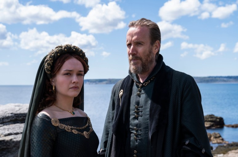 Olivia Cooke as Alicent Hightower and Rhys Ifans as Otto Hightower, as seen in HBO's House of the Dragon