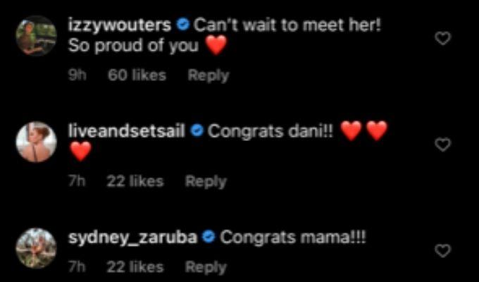 Below Deck family responds to Dani's baby news.