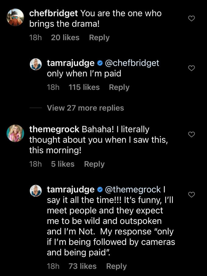 Tamra says she only brings the drama when she's getting paid