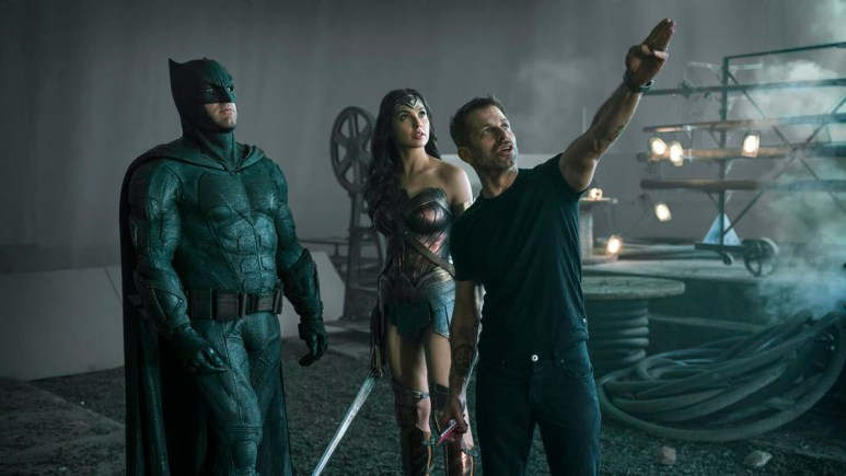 Zack Snyder with Batman and Wonder Woman