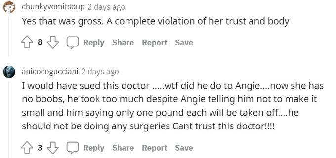 Comments about Angela's surgeon.
