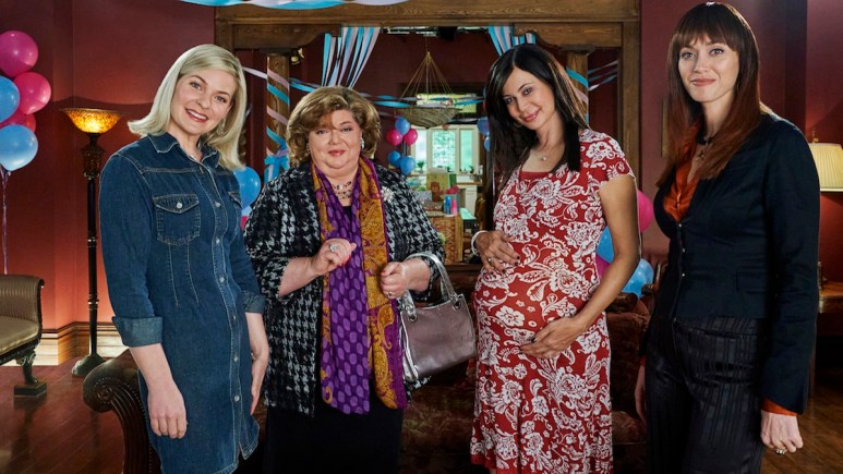 Kylee, Cassie, Martha, and Abigail plan a baby shower for Claire