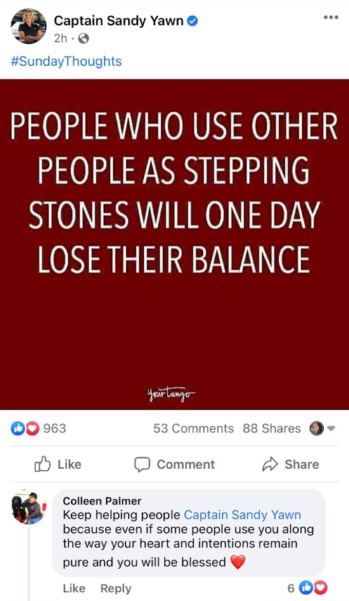 Captain Sandy's Facebook post