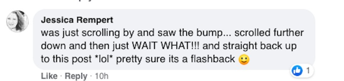 A fan reacts on Facebook to a picture of Catherine Bell with a baby bump.