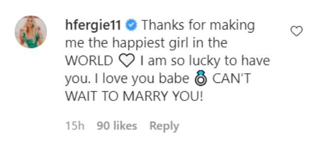 Haley Ferguson comments on her fiance's Instagram post