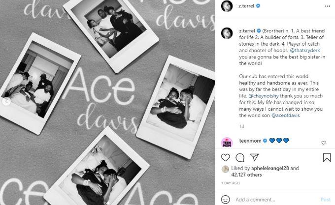 screenshot of family Polaroids following Ace's birth.