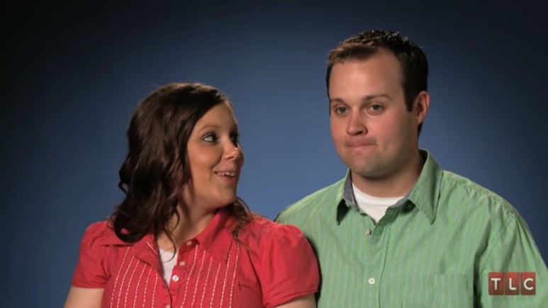 Anna and Josh Duggar in a 19 Kids and Counting confessional.