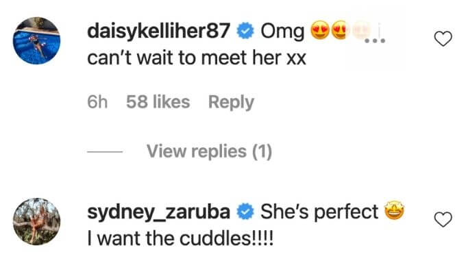Daisy and Sydney comment on Dani's post