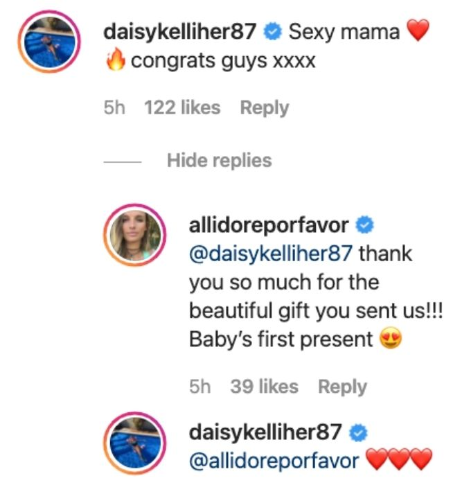 Daisy sends Alli well wishes on pregnancy.