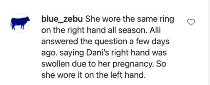 Fan reacts to Dani wedding rings.