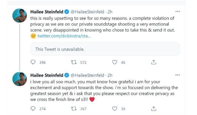 Screenshot of Hailee Steinfeld's tweets.