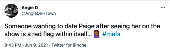 MAFS fans are leery of Paige Banks's new date