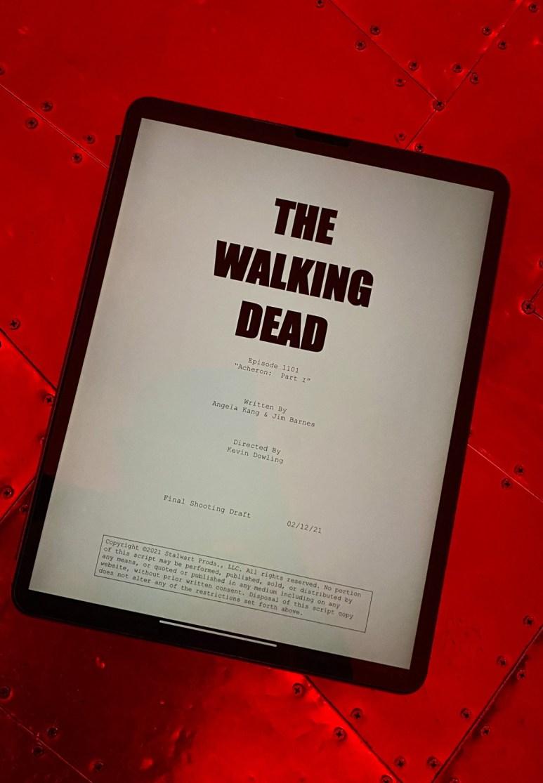 Script page for Episode 1 of AMC's The Walking Dead Season 11