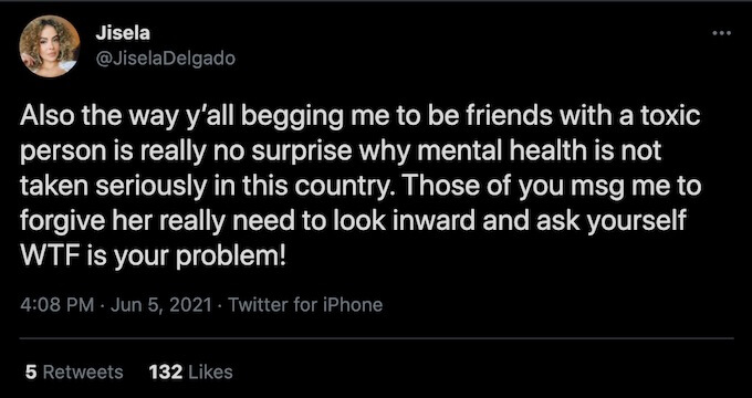jisela delgado tweets to challenge fans about toxic person