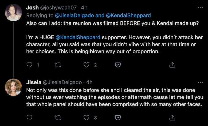 jisela delgado tweet about kendal sheppard and all stars reunion