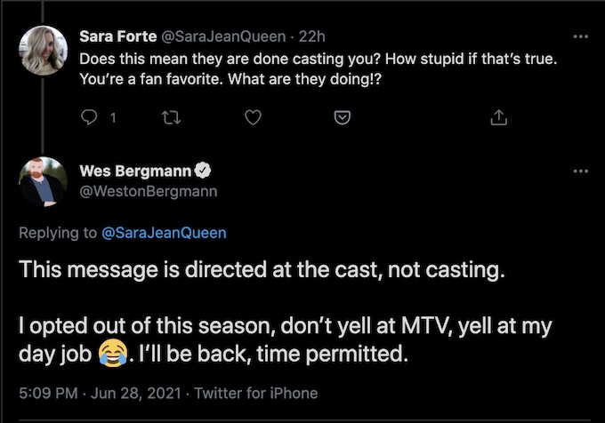 wes replies to fan about the challenge casting