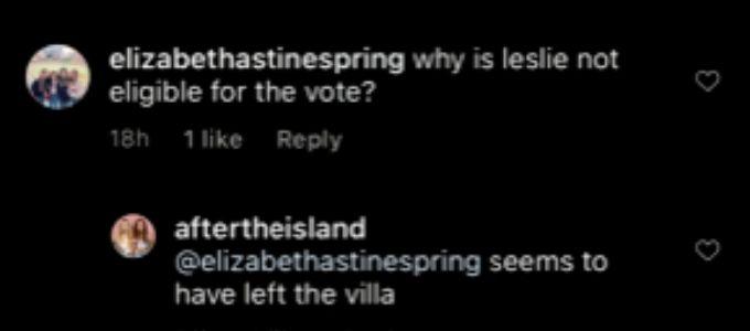 Leslie left Love Island USA.