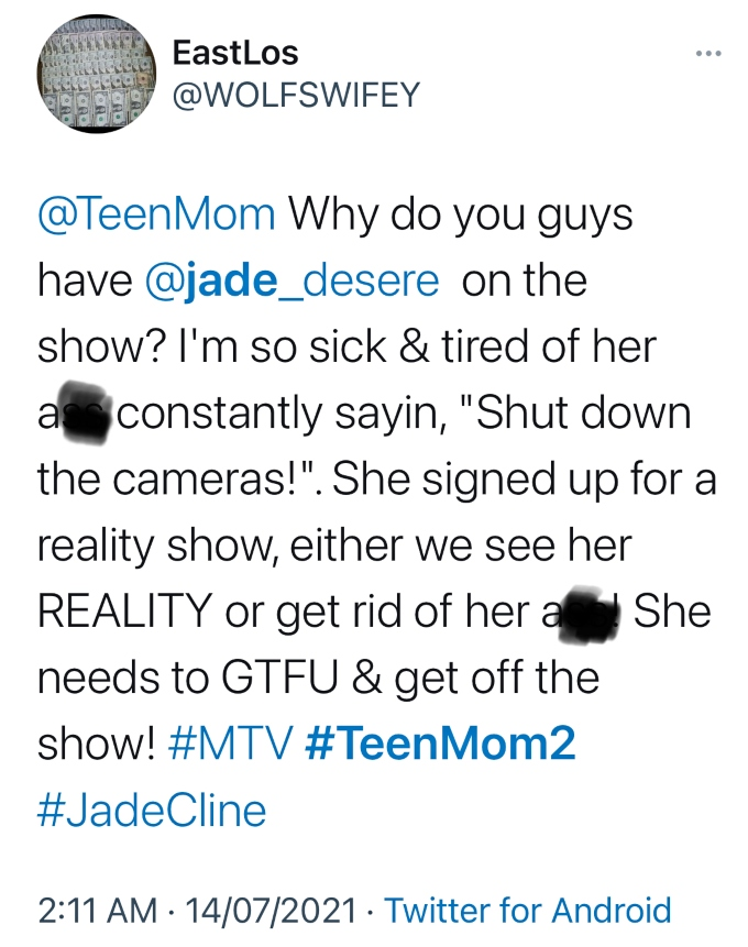 Teen Mom 2 viewers is sick of Jade Cline shutting the cameras down