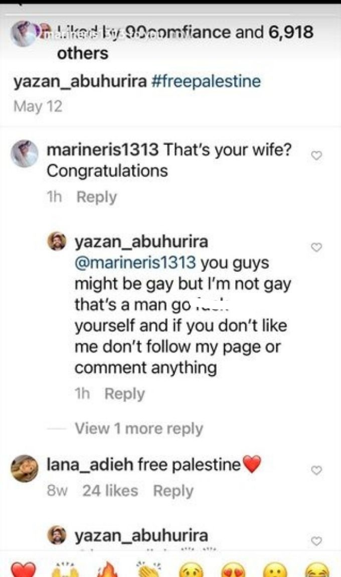 Comment from Yazan's IG