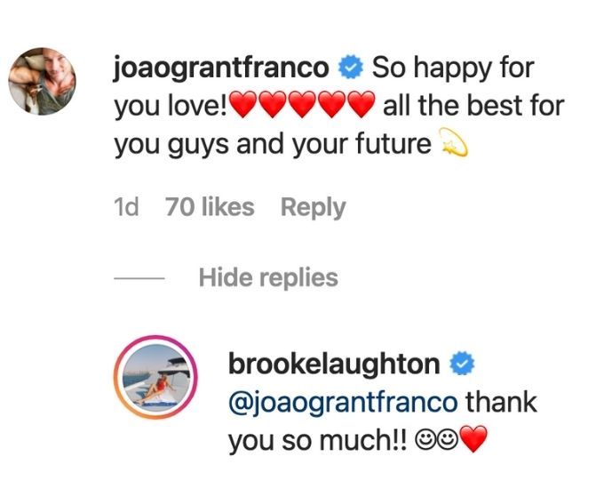 João reacts to Brooke's engagement news.