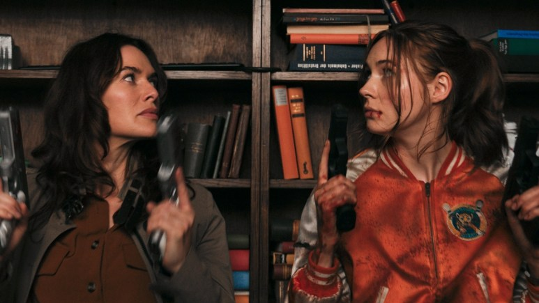 Lena Headey and Karen Gillan in Gunpowder Milkshake.