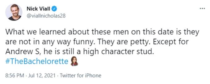 """Nick Viall thinks Katie's guys are """"petty."""""""