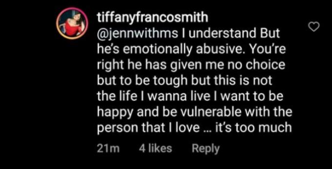Tiffany Franco replying to a fan.