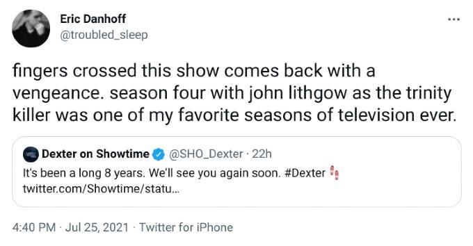 fan reacts to dexter trailer