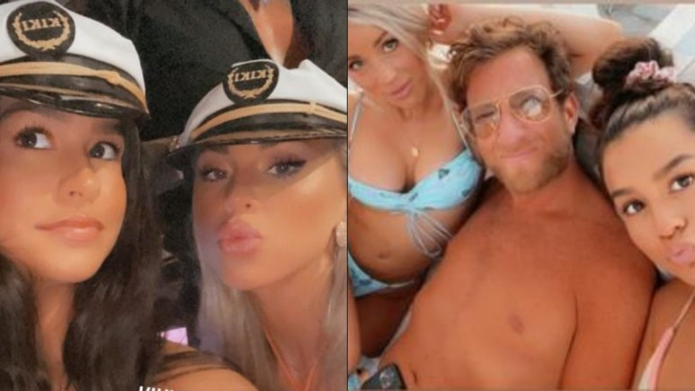 Shannon St Clair and Genevieve from Love Island USA with Dave Portnoy