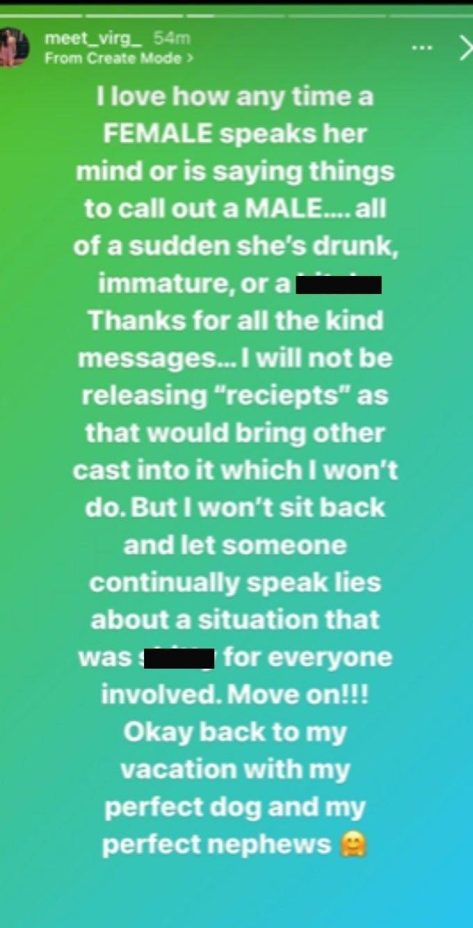 Virginia responds to Jacob's video