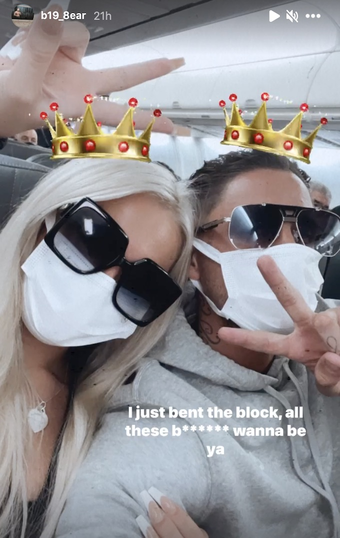 stephen bear with girlfriend on flight for vacation