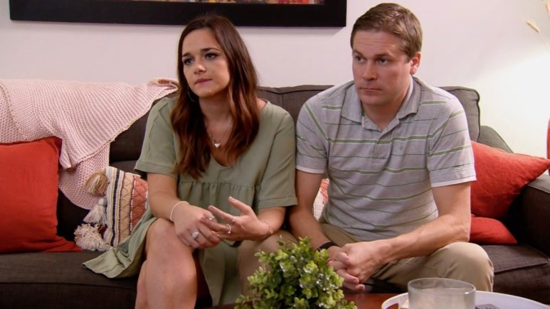 Erik and Virginia sit tensely during a therapy session