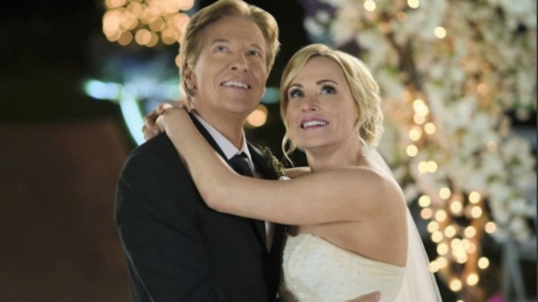 Jack Wagner and Josie Bissett in Hallmark Channel's Sealed With a Kiss.