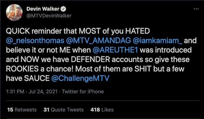 the challenge season 37 devin walker tweets fans about the season 37 rookie hate