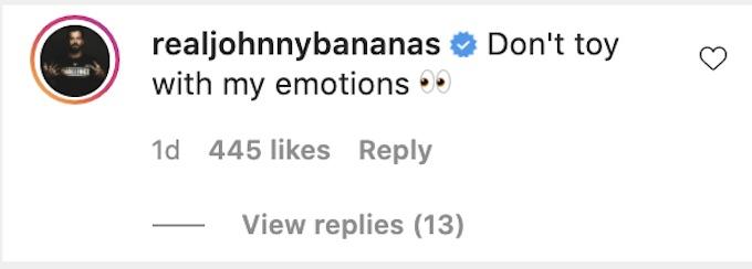 johnny bananas reacts tony raines instagram post