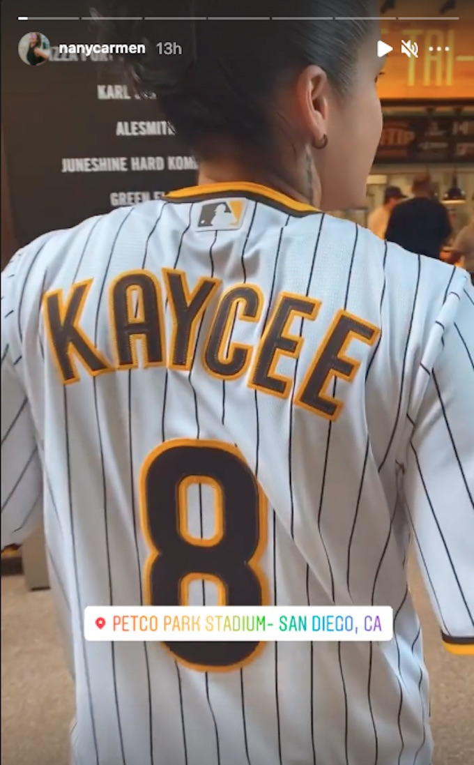 the challenge kaycee clark shows off padres jersey
