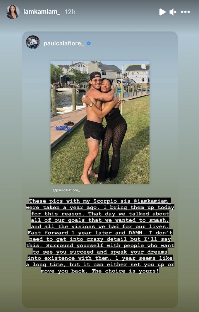 paulie calafiore shares photo with castmate kam williams