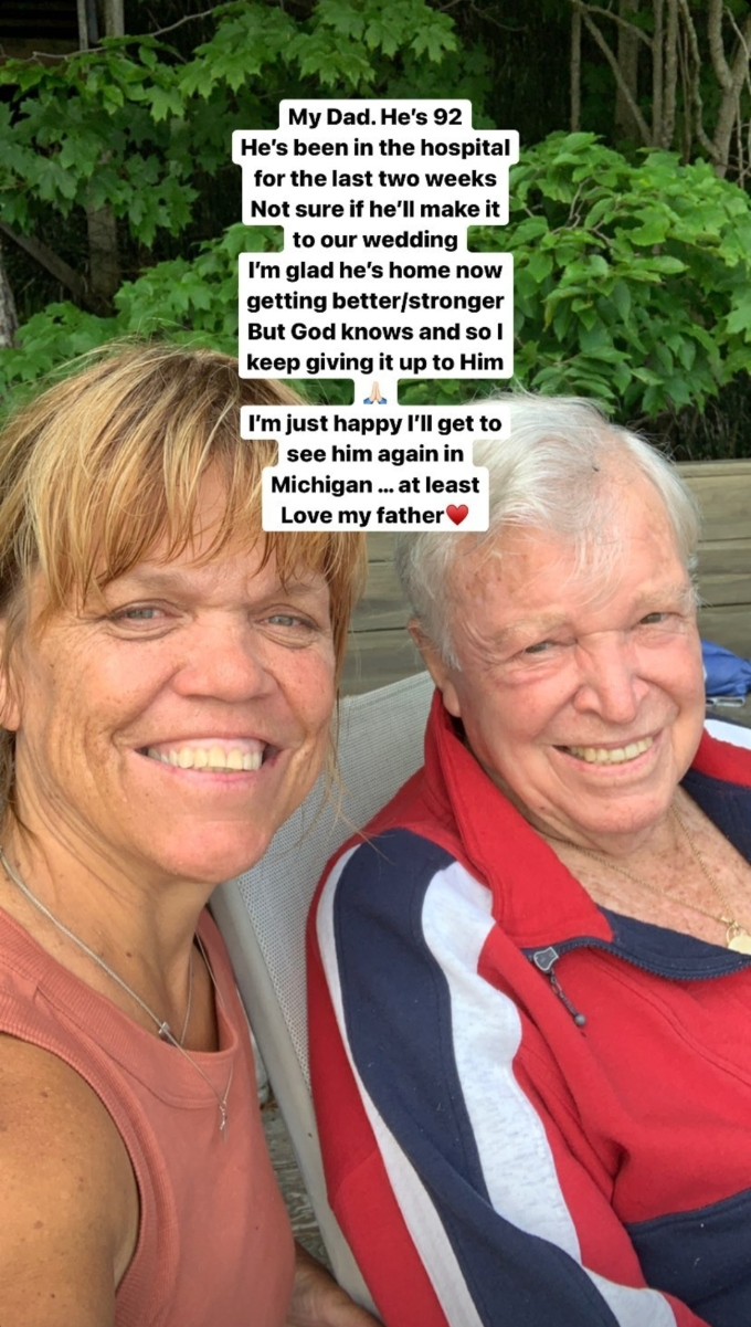 amy roloff of lpbw shared a selfie with her dad gordon on instagram stories