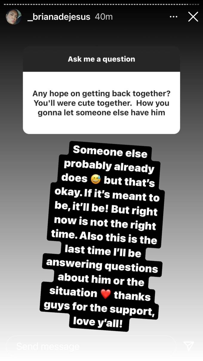 briana dejesus answered fan questions on instagram stories