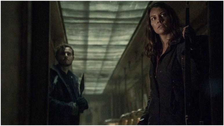 Callan McAuliffe as Alden and Lauren Cohan as Maggie, as seen in Episode 2 of AMC's The Walking Dead Season 11