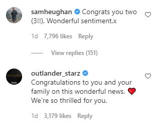 Screen Capture of Catriona Balfe's Instagram account, Sam Heughan, Outlander comments