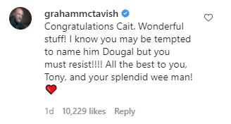 Screen Capture of Catriona Balfe's Instagram account, Graham McTavish comment