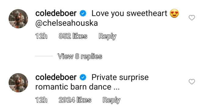 cole deboer commented on wife chelsea houska's instagram post of his birthday surprise for her