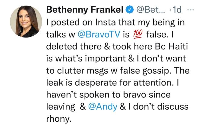 Bethenny Frankel denies return to RHONY