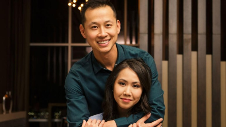 MAFS Bao and Johnny pose together for a promo photo